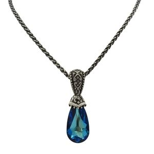 Sterling Silver Bermuda Blue Crystal Necklace